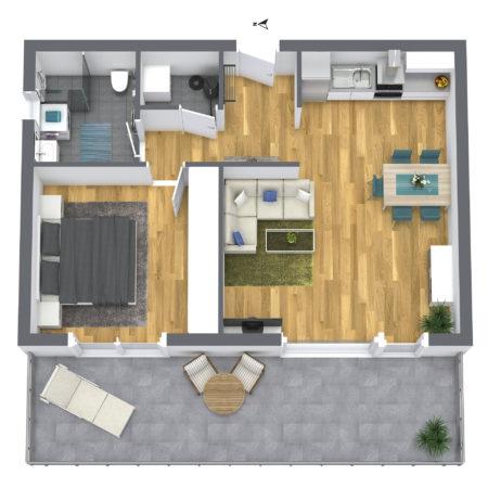 2-Zimmer Wohnung 1OG Nord-West