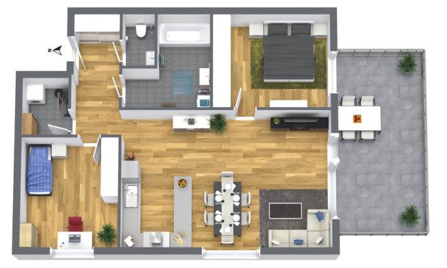 3-Zimmer Wohnung 1OG Süd-West