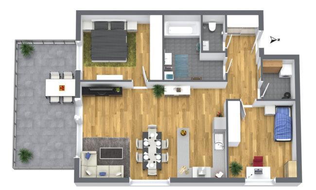 3-Zimmer Wohnung 1OG Süd-Ost