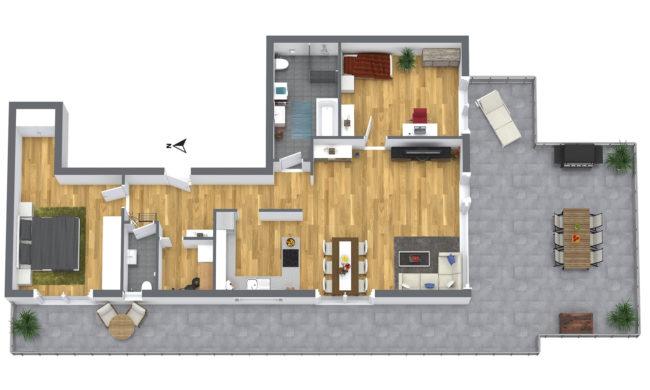 3-Zimmer Dachterrassen-Wohnung