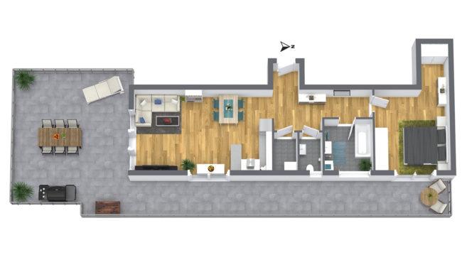 2-Zimmer Dachterrassen-Wohnung